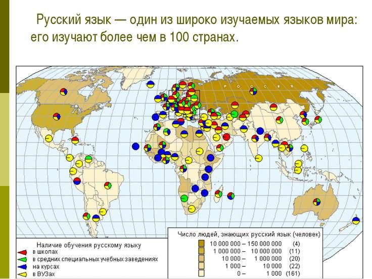 Русский язык — один из широко изучаемых языков мира: его изучают более чем в ...