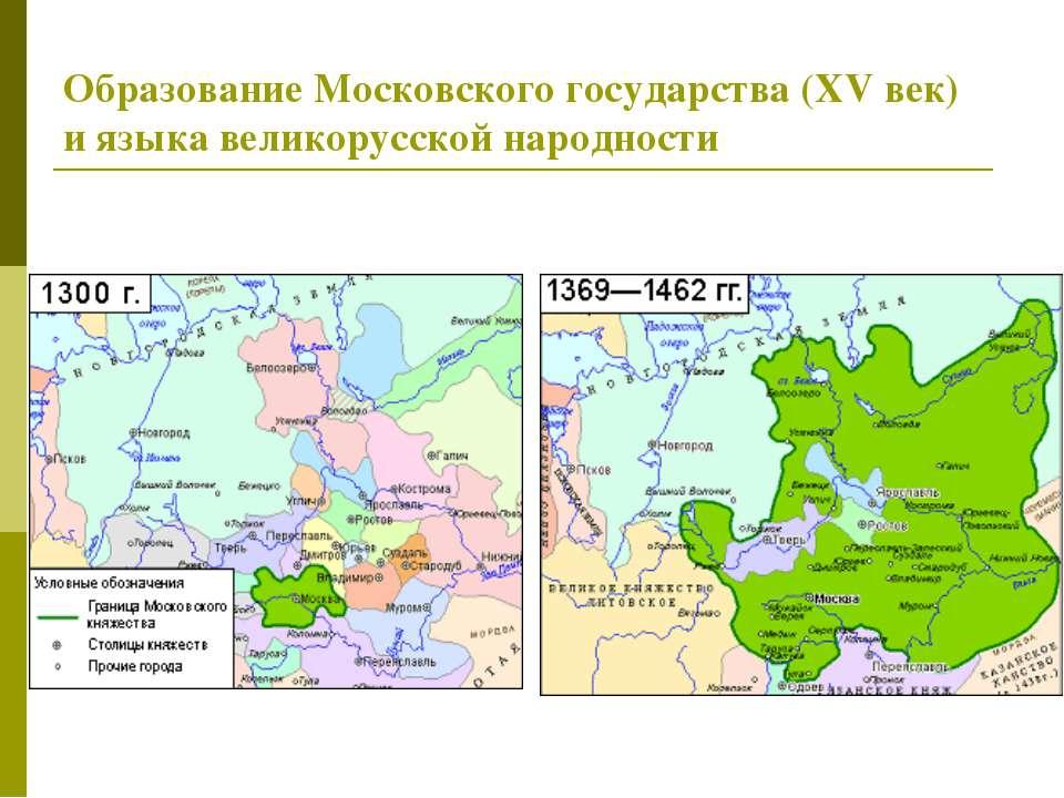 Образование Московского государства (XVвек) иязыка великорусской народности