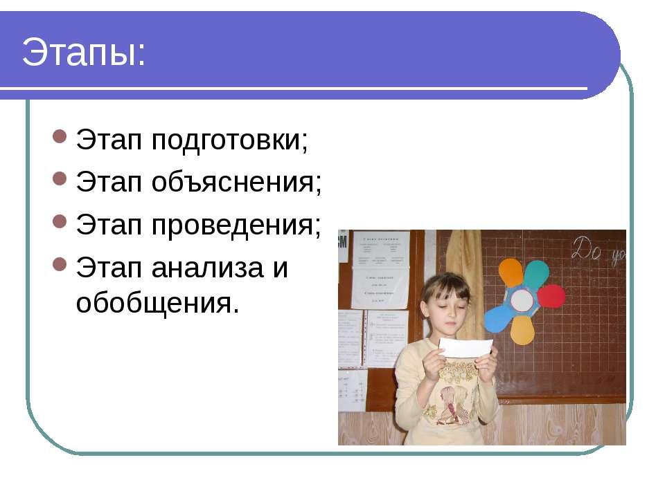 Этапы: Этап подготовки; Этап объяснения; Этап проведения; Этап анализа и обоб...