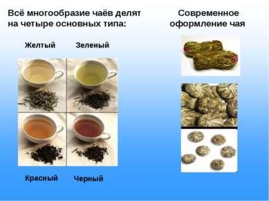 Всё многообразие чаёв делят на четыре основных типа: Желтый Зеленый Красный Ч...