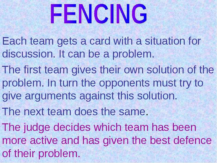 Each team gets a card with a situation for discussion. It can be a problem. T...