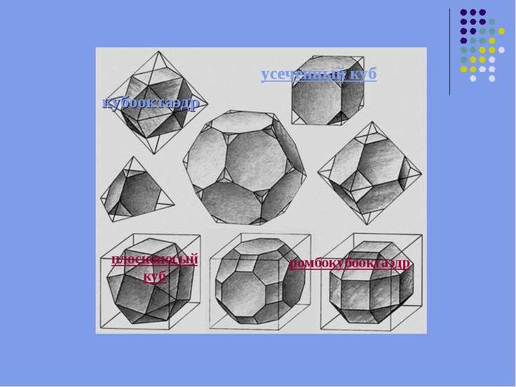 кубооктаэдр усеченный куб плосконосый куб ромбокубооктаэдр