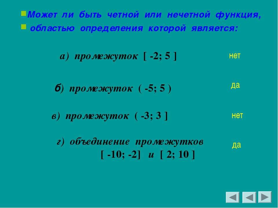 Может ли быть четной или нечетной функция, областью определения которой являе...