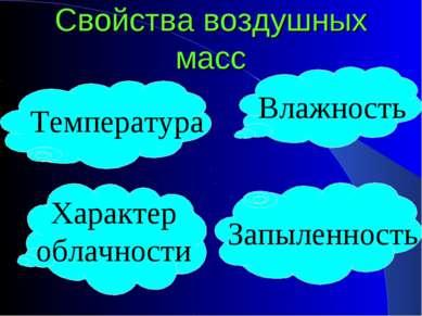 Свойства воздушных масс Температура Влажность Характер облачности Запыленность