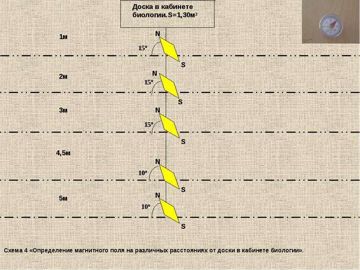 Доска в кабинете биологии.S=1,30м² 1м 2м 3м 5м 4,5м 15º S N S N S 15º 15º 10º...