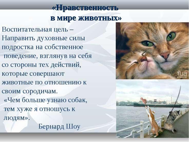 «Нравственность в мире животных» Воспитательная цель – Направить духовные сил...