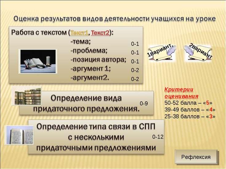 0-1 0-1 0-1 0-2 0-2 0-9 0-12 Критерии оценивания 50-52 балла – «5» 39-49 балл...