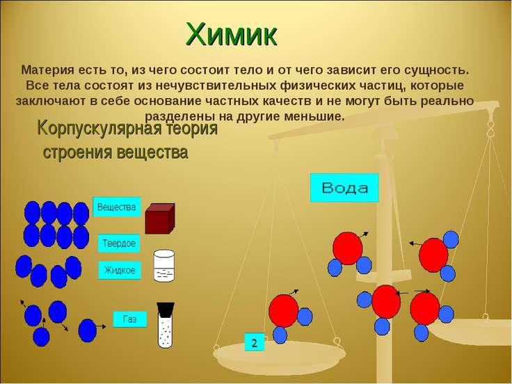 Химик Корпускулярная теория строения вещества Материя есть то, из чего состои...