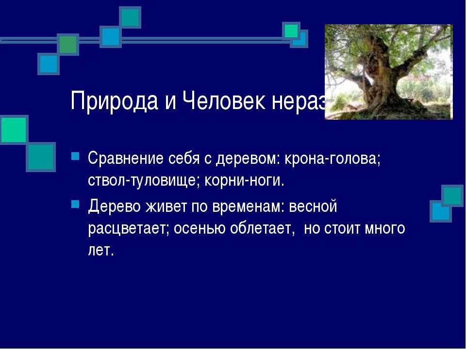 Природа и Человек неразделимы. Сравнение себя с деревом: крона-голова; ствол-...
