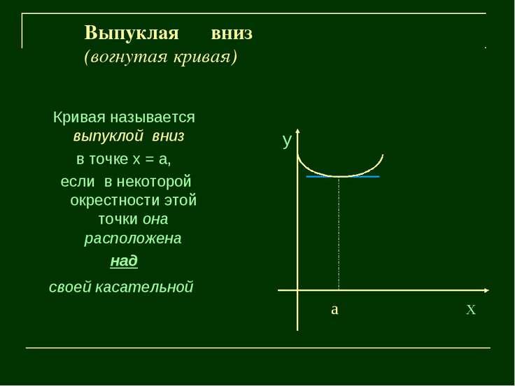 Выпуклая вниз (вогнутая кривая) Кривая называется выпуклой вниз в точке х = а...
