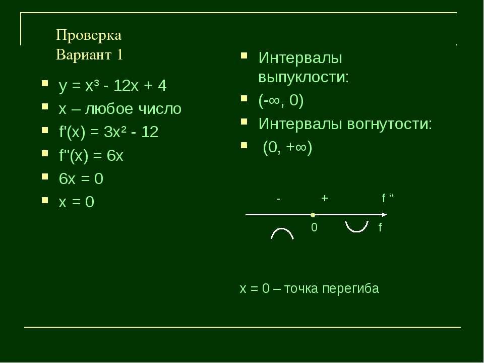 Проверка Вариант 1 у = х³ - 12х + 4 х – любое число f'(х) = 3х² - 12 f''(х) =...