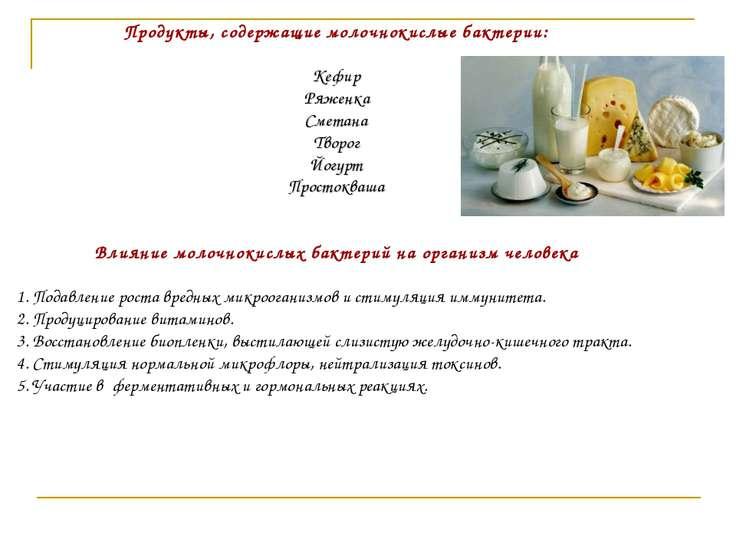 Продукты, содержащие молочнокислые бактерии: Кефир Ряженка Сметана Творог Йог...