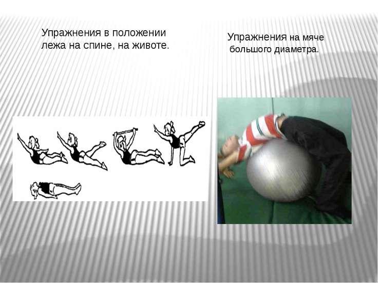 Упражнения на мяче большого диаметра. Упражнения в положении лежа на спине, н...