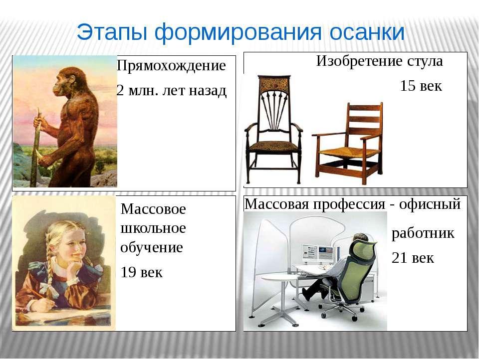 Прямохождение 2 млн. лет назад Изобретение стула 15 век Массовое школьное обу...