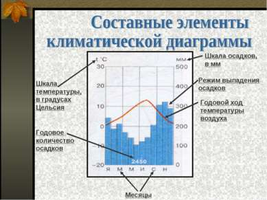 Месяцы Шкала температуры, в градусах Цельсия Годовое количество осадков Шкала...