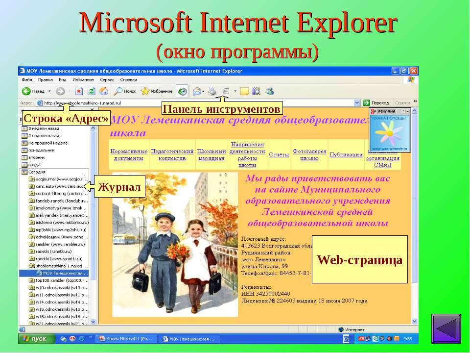 Microsoft Internet Explorer (окно программы)