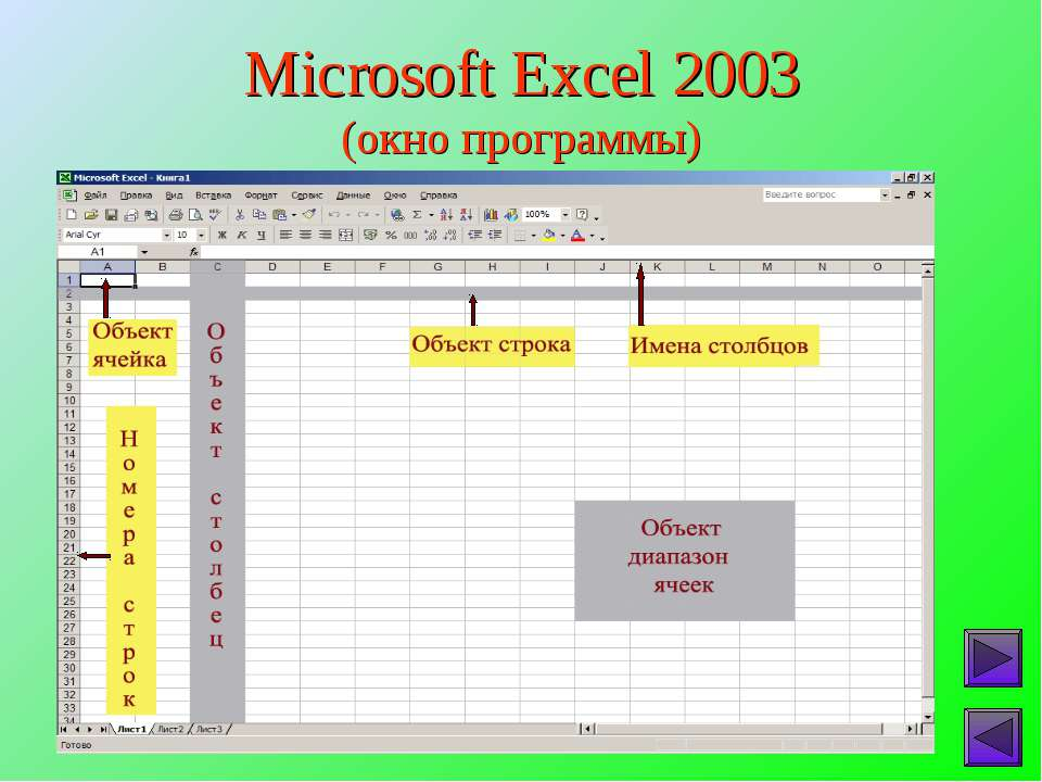 Microsoft Excel 2003 (окно программы)