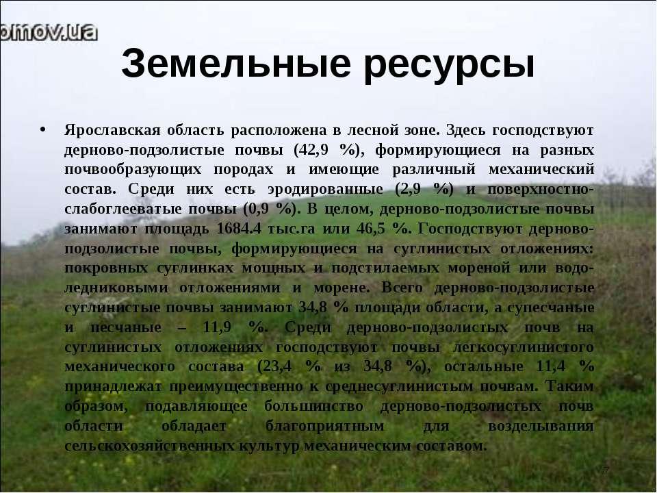 Земельные ресурсы Ярославская область расположена в лесной зоне. Здесь господ...