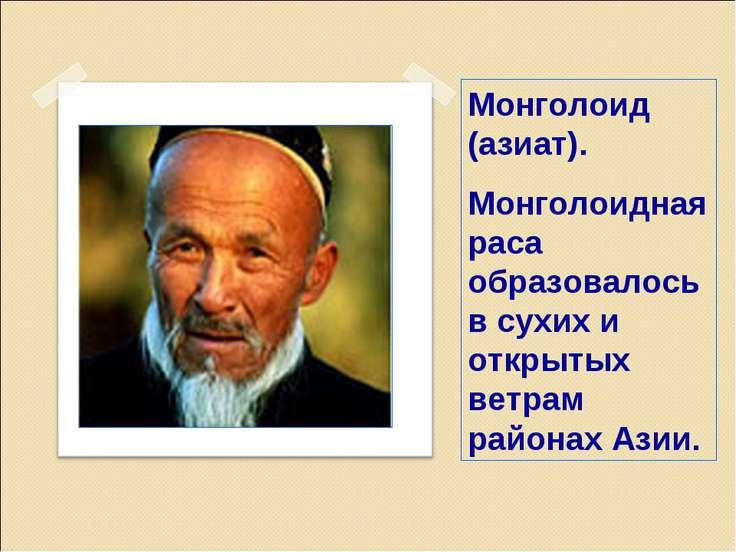 Монголоид (азиат). Монголоидная раса образовалось в сухих и открытых ветрам р...