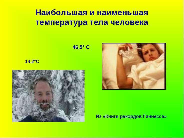 Наибольшая и наименьшая температура тела человека Из «Книги рекордов Гиннесса...