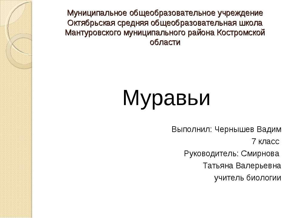 Муниципальное общеобразовательное учреждение Октябрьская средняя общеобразова...