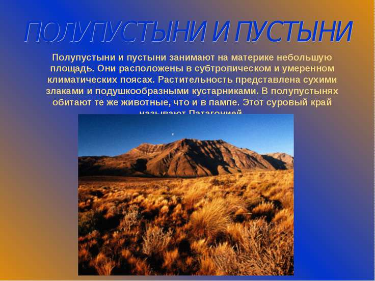 ПОЛУПУСТЫНИ И ПУСТЫНИ Полупустыни и пустыни занимают на материке небольшую пл...