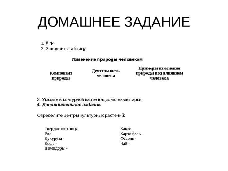 ДОМАШНЕЕ ЗАДАНИЕ § 44 Заполнить таблицу Изменение природы человеком 3. Указат...