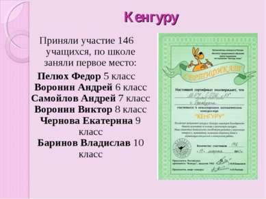 Кенгуру Приняли участие 146 учащихся, по школе заняли первое место: Пелюх Фед...