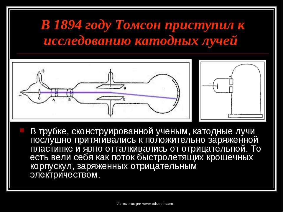 В 1894 году Томсон приступил к исследованию катодных лучей В трубке, сконстру...