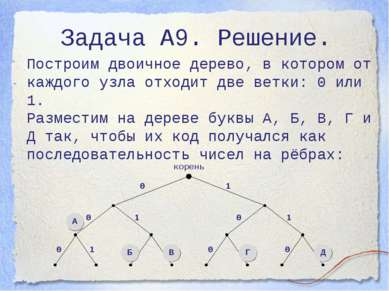 Задача А9. Решение. Построим двоичное дерево, в котором от каждого узла отход...