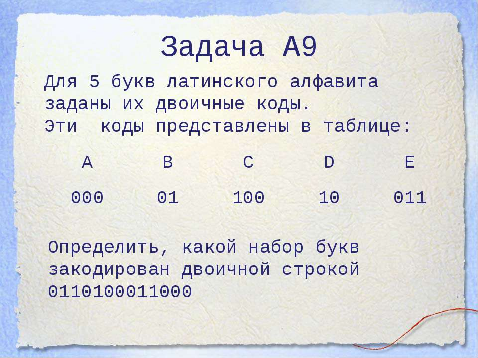 Задача А9 Для 5 букв латинского алфавита заданы их двоичные коды. Эти коды пр...
