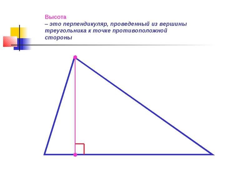 Высота – это перпендикуляр, проведенный из вершины треугольника к точке проти...