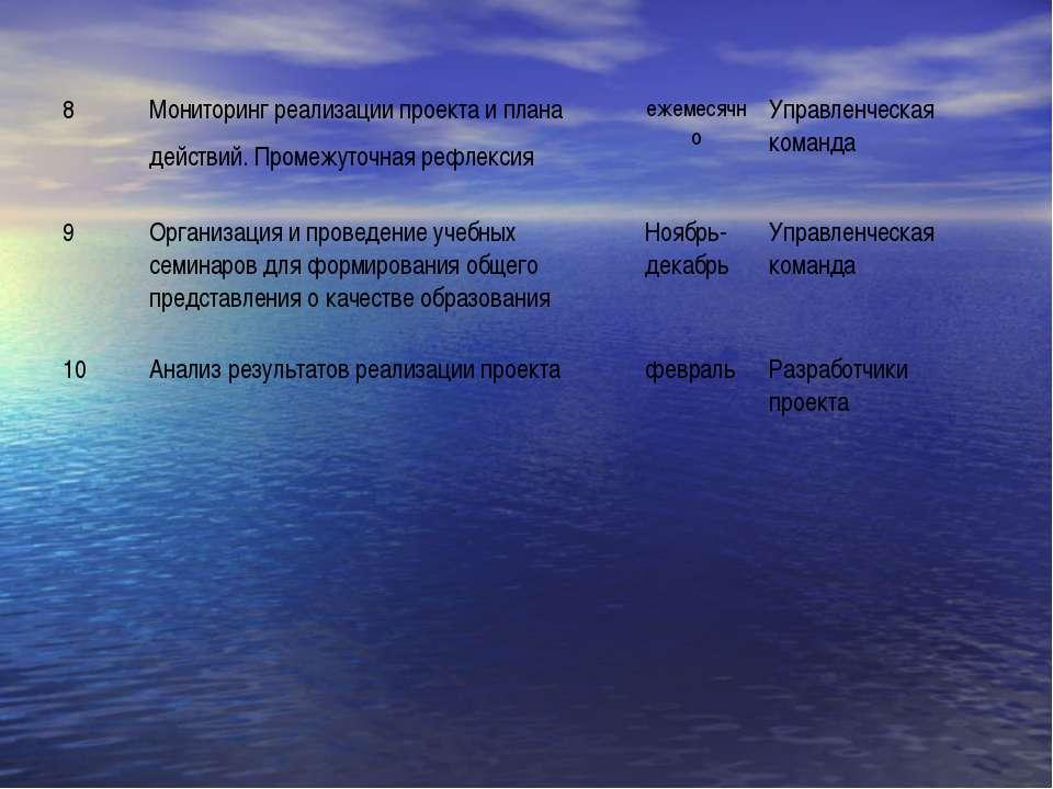 8 Мониторинг реализации проекта и плана действий. Промежуточная рефлексия еже...