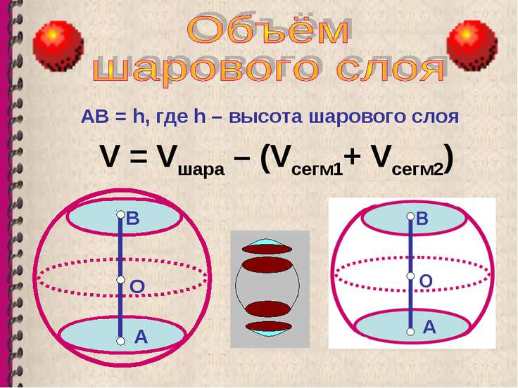 АВ = h, где h – высота шарового слоя V = Vшара – (Vсегм1+ Vсегм2) О В А А