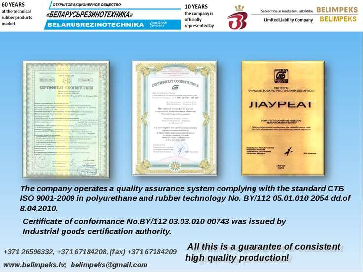 +371 26596332, +371 67184208, (fax) +371 67184209 www.belimpeks.lv; belimpeks...