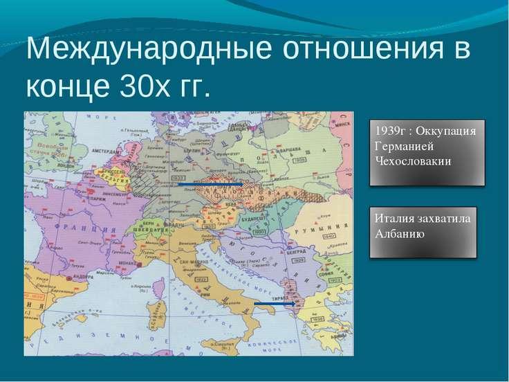 Международные отношения в конце 30х гг.