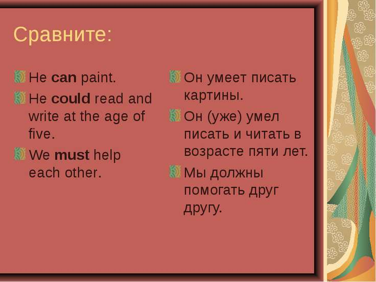 Сравните: He can paint. He could read and write at the age of five. We must h...