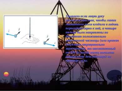 Правило:если левую руку расположить так, чтобы линии магнитного поля входили ...