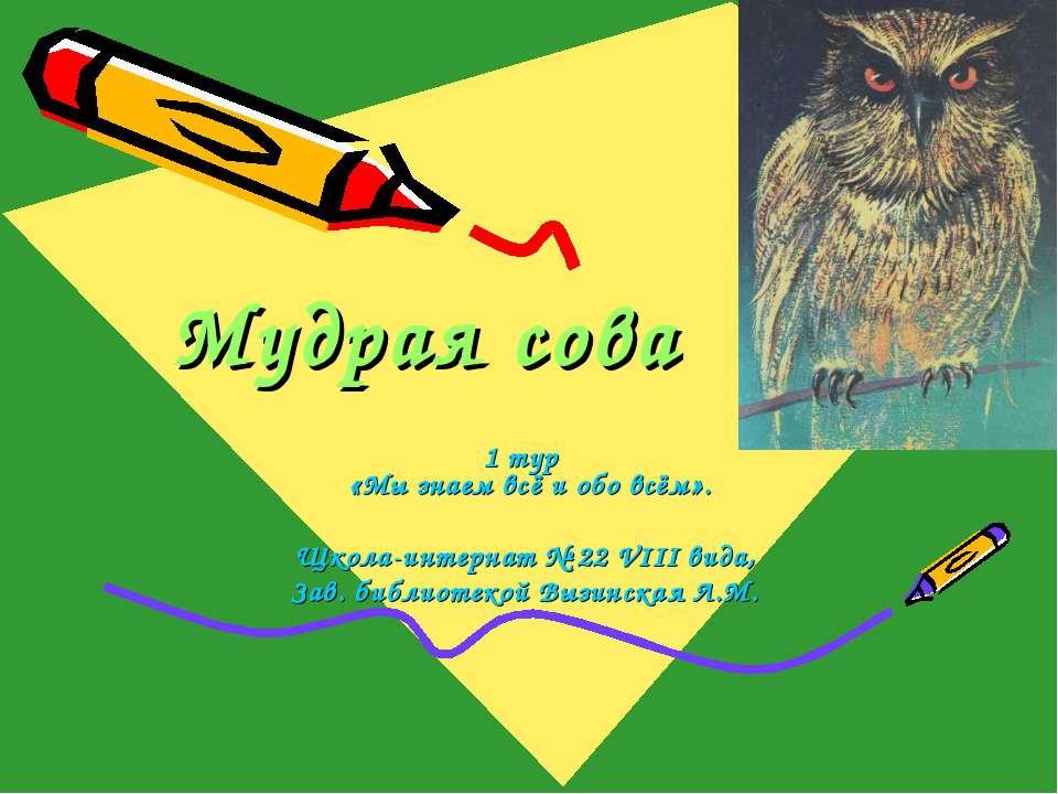 Мудрая сова 1 тур «Мы знаем всё и обо всём». Щкола-интернат № 22 VIII вида, З...