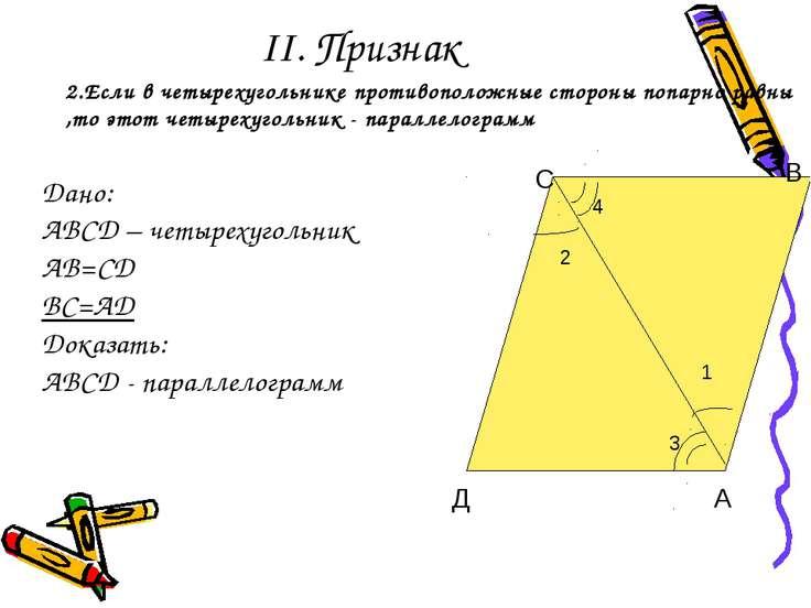 II. Признак 2 1 С Д В А 2.Если в четырехугольнике противоположные стороны поп...