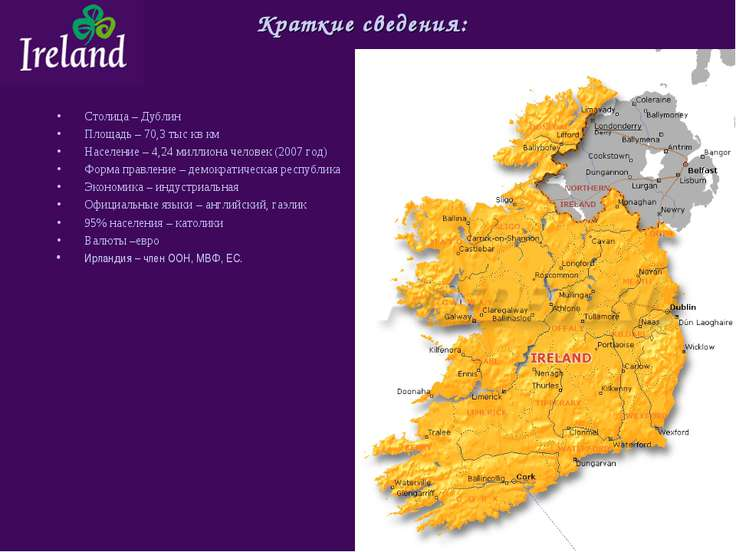 Краткие сведения: Столица – Дублин Площадь – 70,3 тыс кв км Население – 4,24 ...
