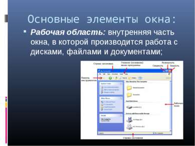 Основные элементы окна: Рабочая область: внутренняя часть окна, в которой про...
