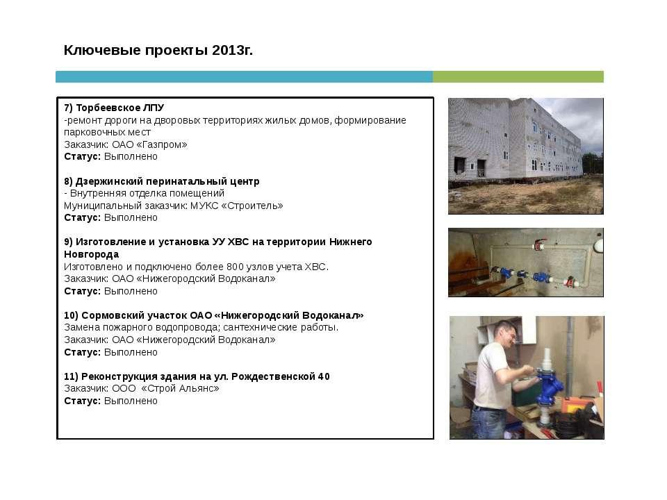 Ключевые проекты 2013г. 7) Торбеевское ЛПУ -ремонт дороги на дворовых террито...
