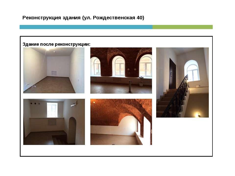 Реконструкция здания (ул. Рождественская 40) Здание после реконструкции: