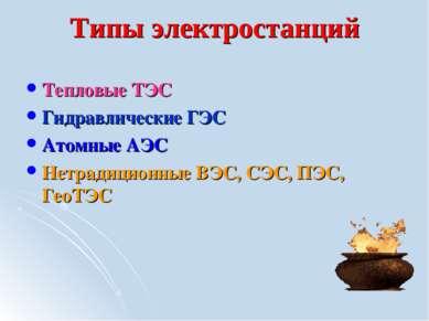 Типы электростанций Тепловые ТЭС Гидравлические ГЭС Атомные АЭС Нетрадиционны...