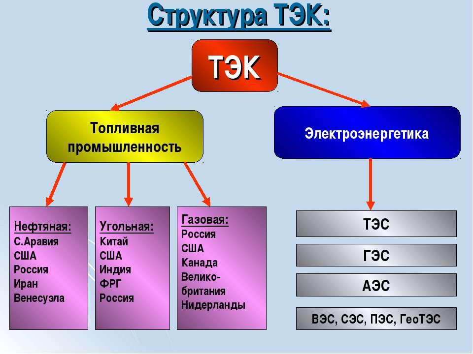 Структура ТЭК: ТЭК Топливная промышленность Электроэнергетика Нефтяная: С.Ара...