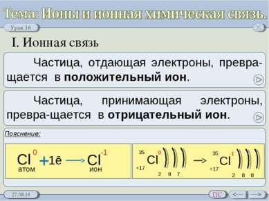 I. Ионная связь Урок 16 ПС
