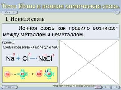 I. Ионная связь Схема образования молекулы NaCl Автор flash: Ромахин Александ...