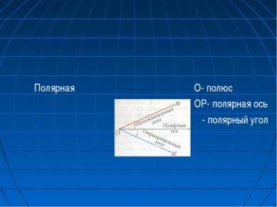Полярная О- полюс ОР- полярная ось φ - полярный угол