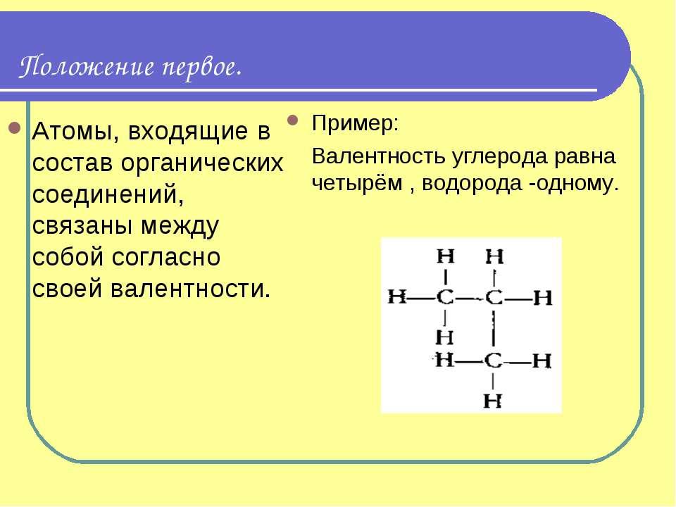 Положение первое. Атомы, входящие в состав органических соединений, связаны м...